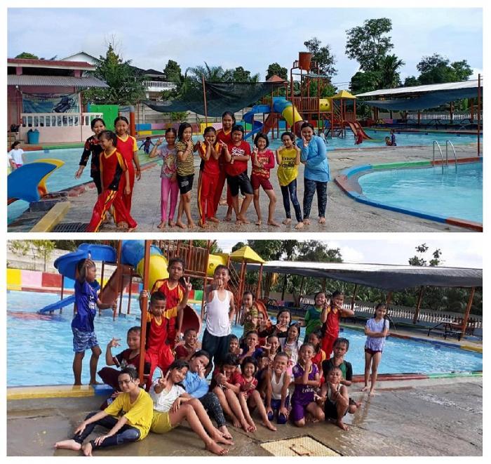 Siswa MIN 2 Tanjab Timur mengikuti Kegiatan Praktik Penjas Belajar Renang Di Kampung Ratu